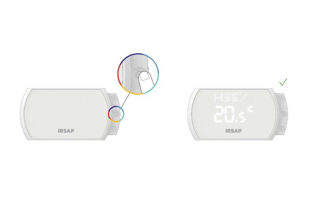 Attiva lo Smart Thermostat premendo il tasto centrale e visualizza la temperatura, il livello di qualità dell'aria e l'umidità dell'ambiente nel quale è posizionato.