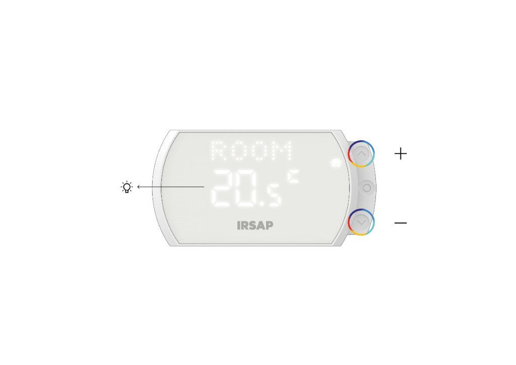"""Una volta raggiunto l'ambiente interessato, lo Smart Thermostat visualizzerà la temperatura impostata e sarà possibile modificarla attraverso i tasti """"^"""" e """"˅""""."""