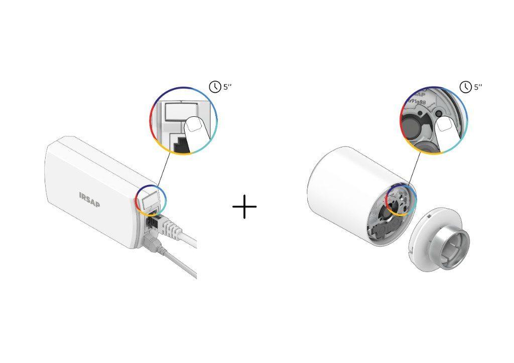 Nel caso in cui il QR code o il codice numerico non fossero leggibili, procedi all'associazione di emergenza: premi il tasto pairing che trovi sulla parte frontale della Connection Unit e poi il tasto pairing sul retro della Smart Valve.