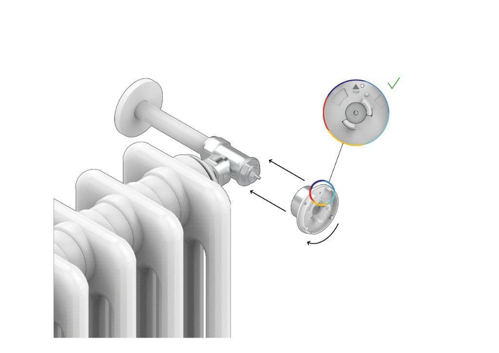 Installa il sistema di fissaggio posteriore della Smart Valve alla valvola idraulica del radiatore e stringi la ghiera di chiusura