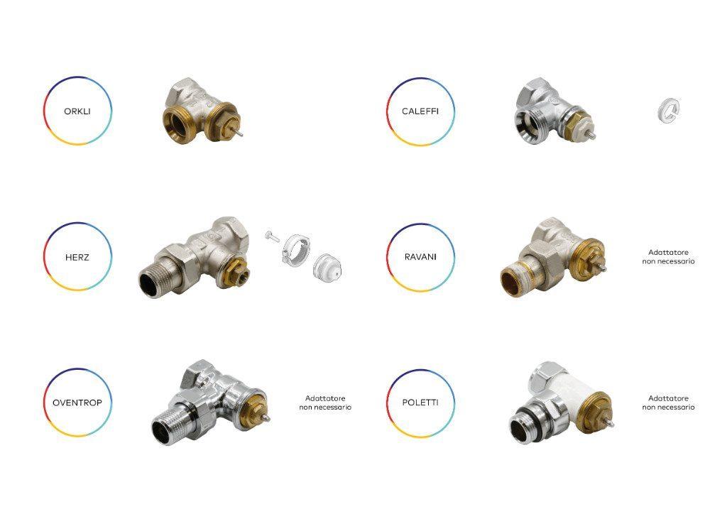 Trovi qui di seguito una selezione delle più comuni valvole termostatizzabili, e l'informazione relativa all'utilizzo di quale adattatore montare.