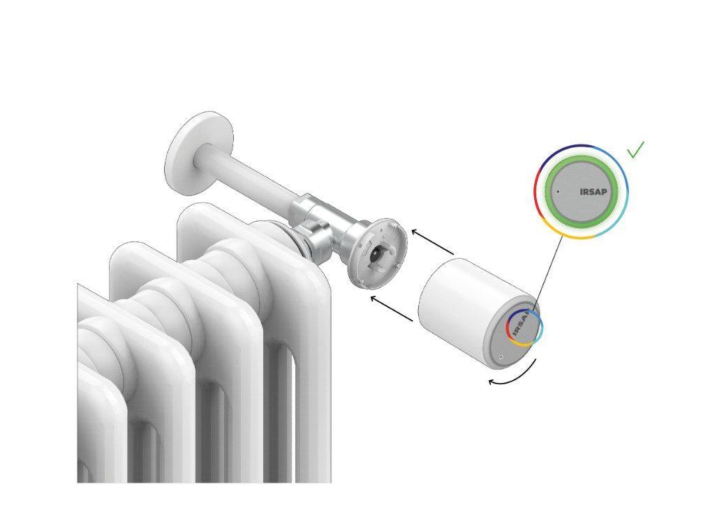 Installa il corpo principale della Smart Valve sul sistema di fissaggio tenendola stretta e ruotando il dispositivo in senso anti-orario