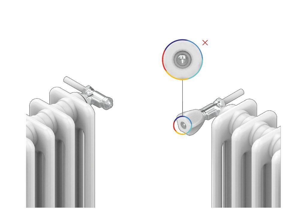 Se la valvola presente sul tuo radiatore non è termostatizzabile (vedi immagine sotto), potrai comunque installare la Smart Valve, previa sostituzione della vecchia valvola idraulica.