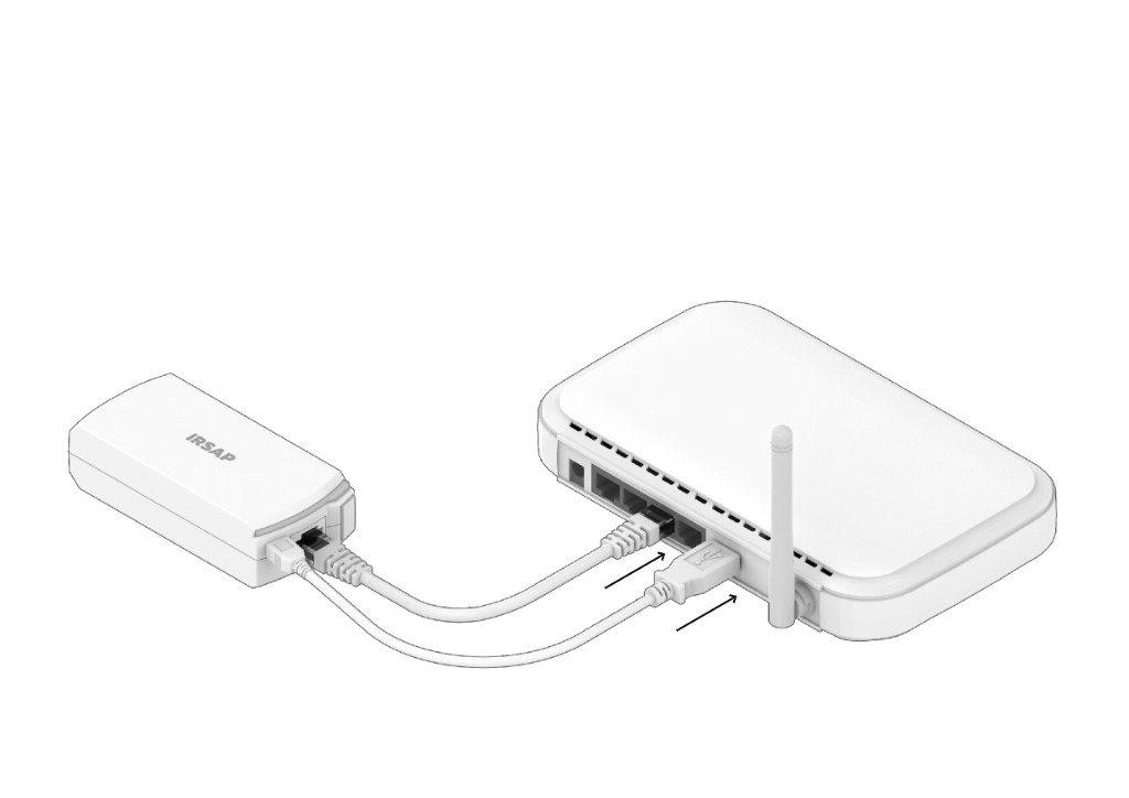 Conecte la unidad de conexión al enrutador y a la fuente de alimentación  Fuente de alimentación con conexión al enrutador: