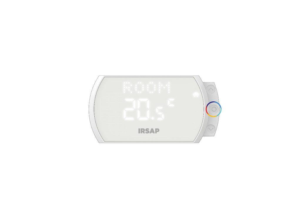 Pulsando la tecla central es posible entrar en el modo de selección de habitación, y pulsando en secuencia será posible desplazarse por las diferentes habitaciones, cuyo nombre configurado en la aplicación aparecerá en la pantalla LED.