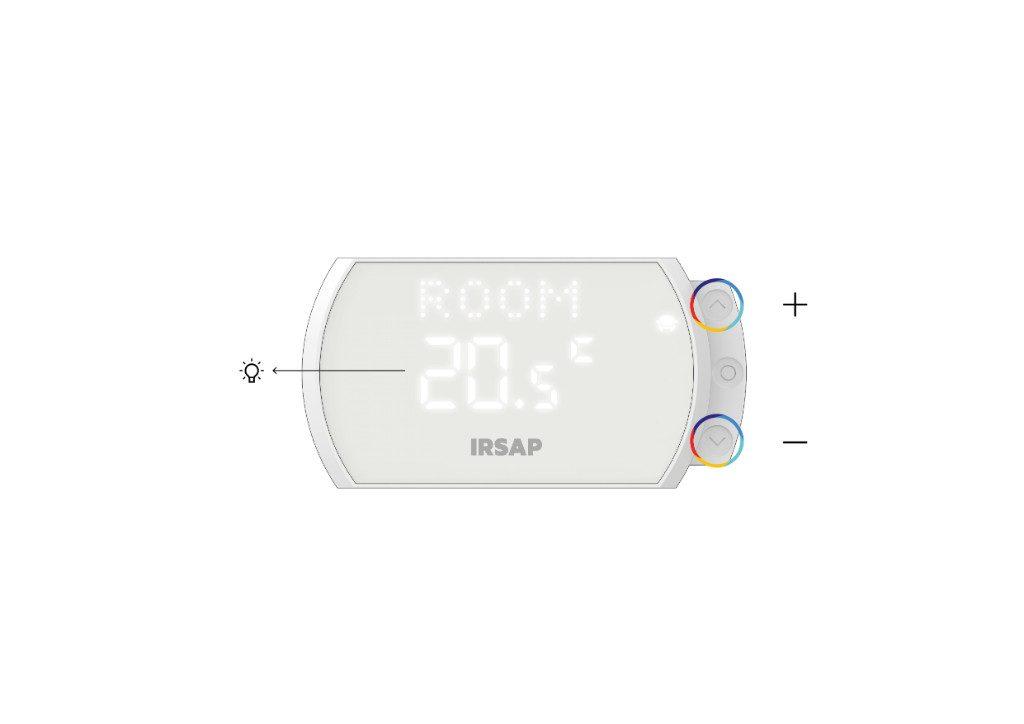 Una vez que se haya alcanzado la habitación en cuestión, el Termostato Inteligente mostrará la temperatura programada y será posible cambiarla con las teclas
