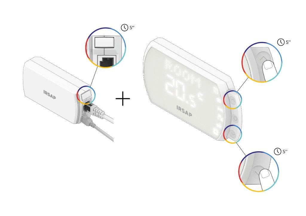 Si el código QR o el código numérico no es legible, proceda con la asociación de emergencia: presione el botón de emparejamiento en la parte frontal de la Unidad de Conexión y luego simultáneamente las dos flechas