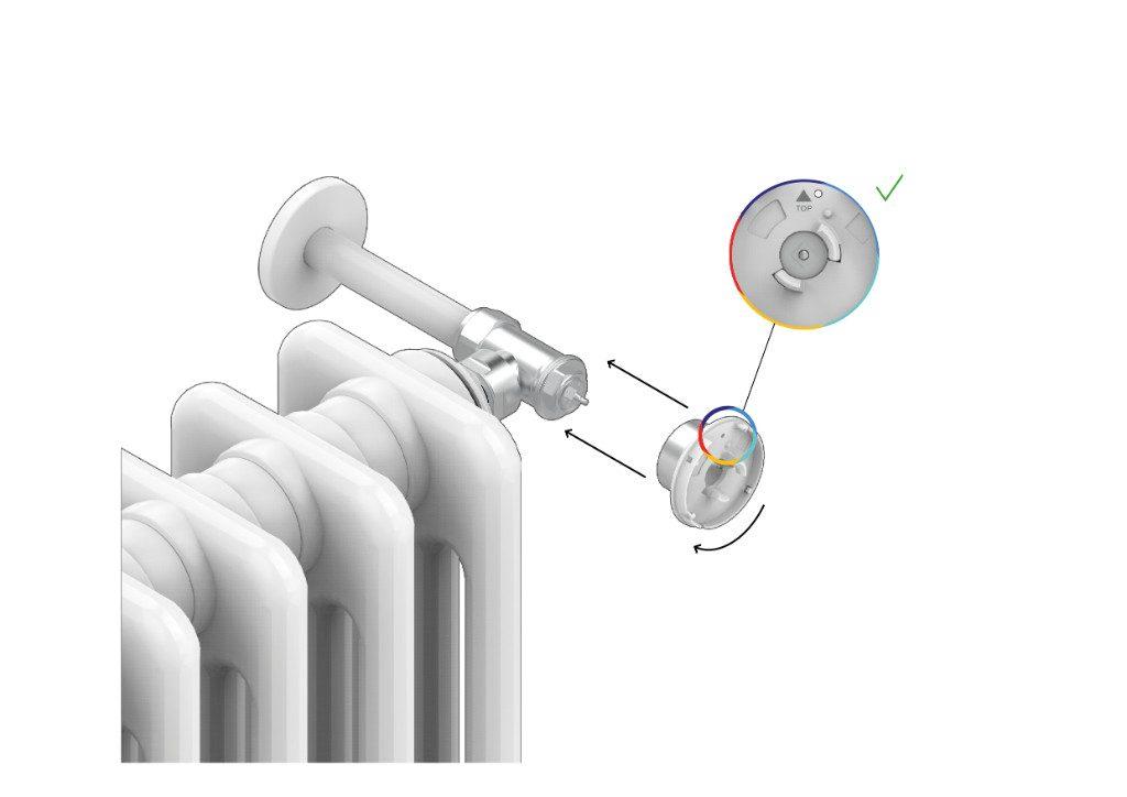 7. Instale el sistema de fijación trasero de la Smart Valve a la válvula hidráulica del radiador y apriete el anillo de bloqueo.