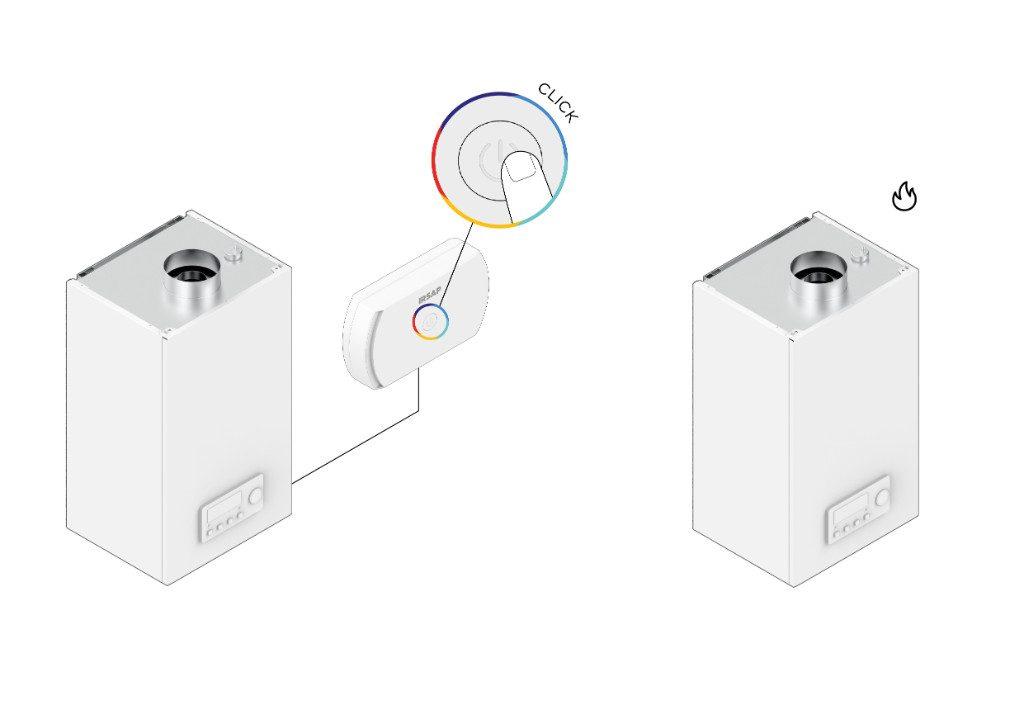 Si es necesario forzar el encendido de la caldera o bomba de calor (por ejemplo, para el control anual de la caldera), simplemente presione el botón central del Starter: la caldera se encenderá y el botón central parpadeará en rojo.