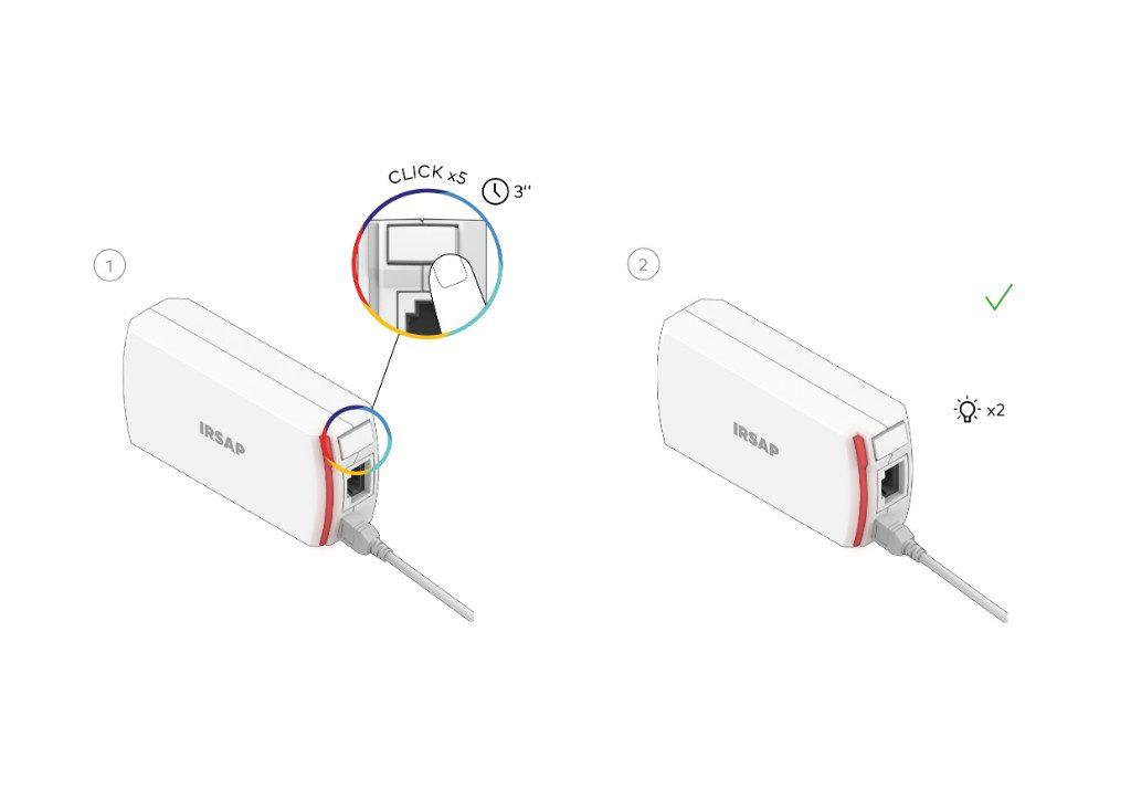 Usar la Unidad de Conexión como Repetidor es muy simple: antes de pasar a la instalación y configuración, conecte el Repetidor a la toma de corriente, presione el botón lateral 5 veces en 3 segundos.