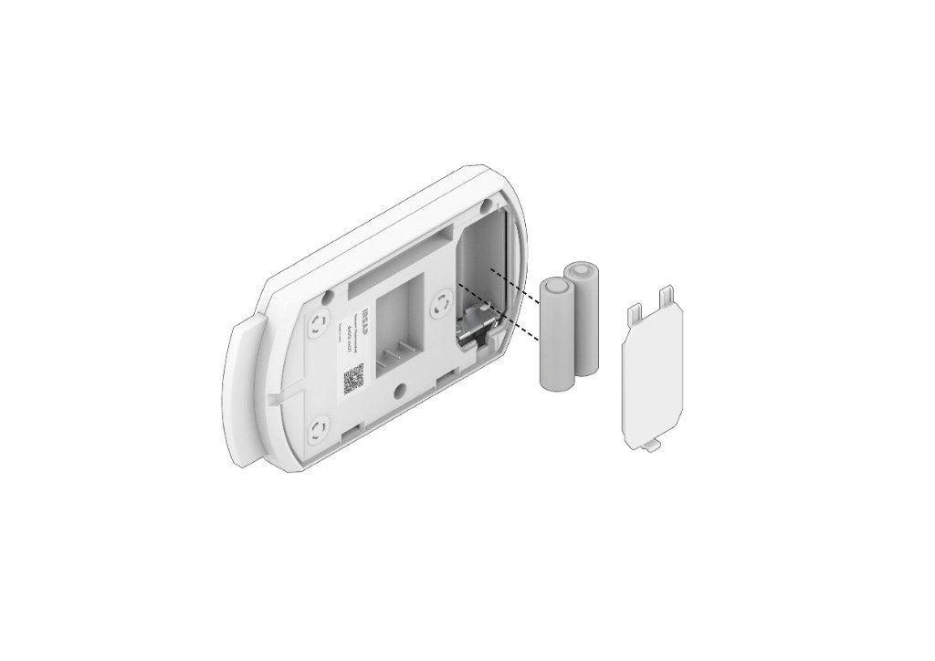 Inserte las pilas en el compartimento de las pilas (el termostato inteligente se enviará con 2 pilas alcalinas AA no recargables ya insertadas