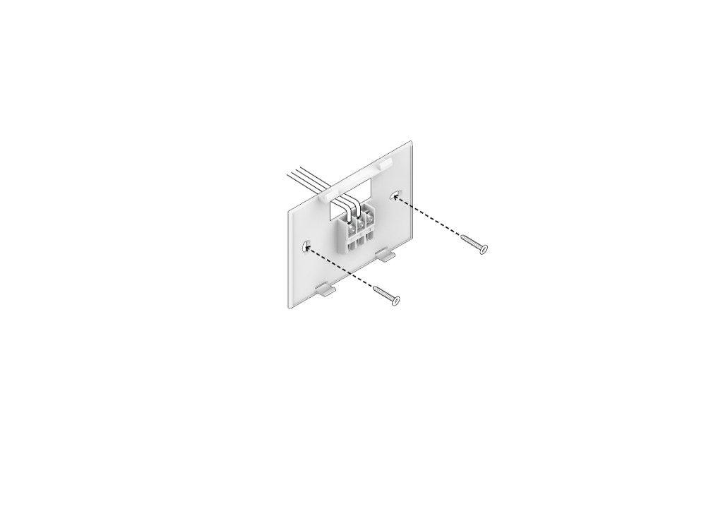 Fije la cubierta trasera del termostato inteligente a la pared (tornillos incluidos)
